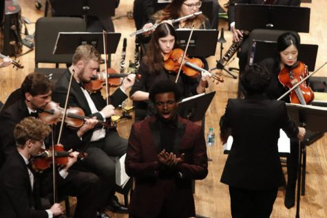 Baritone Alfred Harper is a senior double music major. In the concert, he performed as a soloist for Mozart's