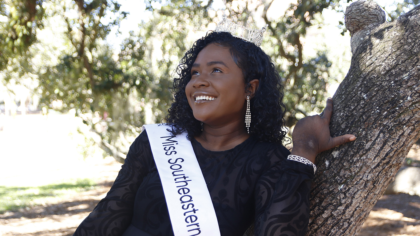 """""""That's what I want to continue to do throughout my reign this school year—show myself, present, be of any help or service I can be to the community.""""  - Janine Hatcher, Miss Southeastern 2020"""