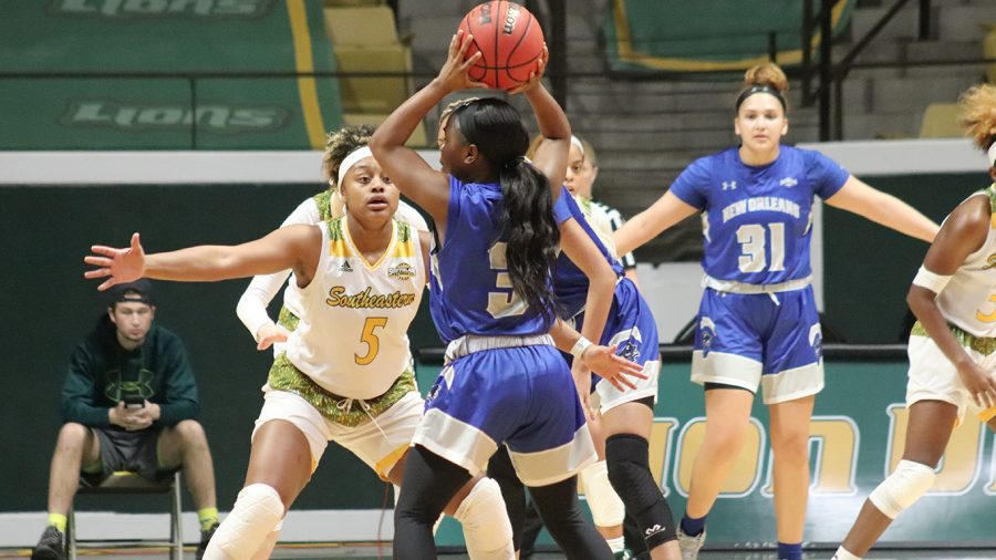 Senior+guard+Charilee+Dugas+defends+in+the+Lady+Lions+Feb.+1+73-57+victory+over+the+University+of+New+Orleans.+The+Lady+Lions+next+game+will+be+on+Feb.+8+against+the+University+of+Incarnate+Word.+