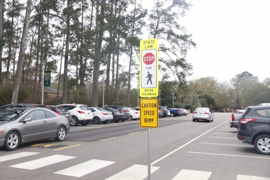 There are multiple speed bumps around campus to increase driving safety. Stop signs and crosswalks, such as those on Texas Ave., are in place to increase both driver and pedestrian awareness. All drivers, including students, faculty and visitors, should be conscious of pedestrians, as there are many walking on and around campus daily.