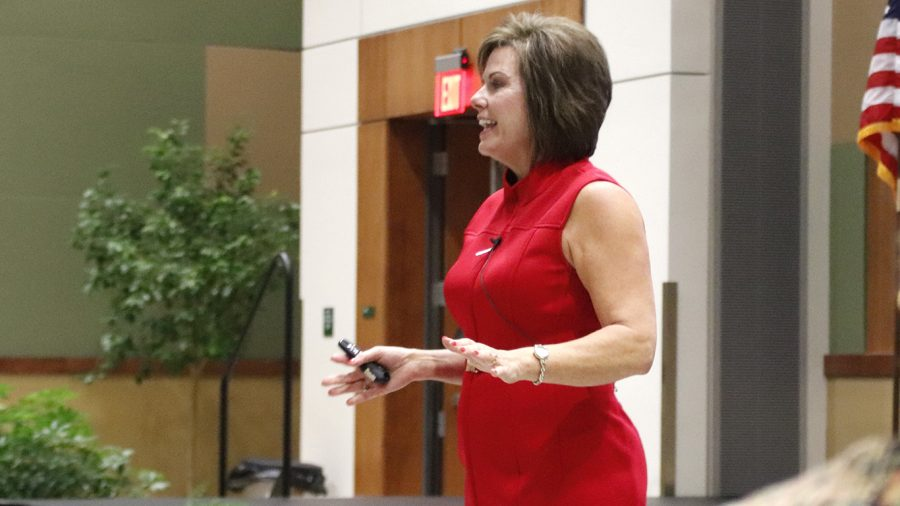 Jennifer Ledet, an independent consultant and leadership coach, speaks during the leadership lecture organized by the College of Business. Ledet interacted with students and spoke about being an influential leader.