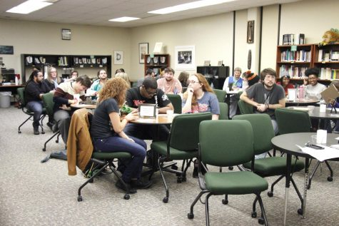Students gather in the university's Writing Center to share work and practice their skills. Some of their work is published in the Manchac Review and can be showcased at Manchac Live.