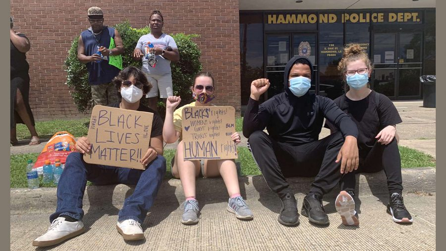 Hammond community members protest the death of George Floyd. The protest started at Hammond City Court Clerk and ended at the Hammond Police Department.