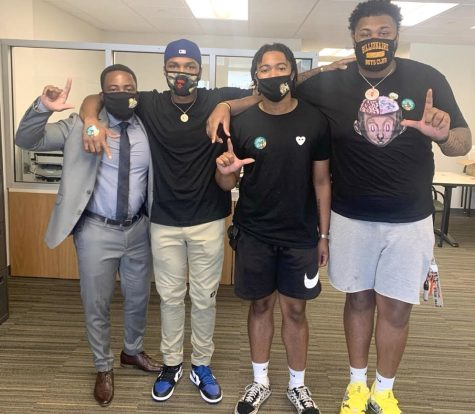 """Dr. Gabe Willis, Dean of Students, """"caught"""" @therealmarr5, @ccurryy_ and @tre.7k wearing their masks correctly and posted them #ProtectingThePride on Instagram."""