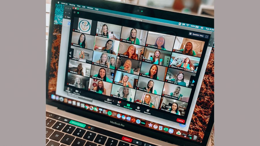 New members of Alpha Sigma Tau meet virtually for recruitment instead of the traditional rush week.