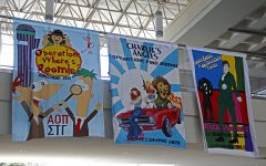 Student organizations decorated sheets that are hanging in the Student Union Breezeway. The sheets include this year's Homecoming Theme,