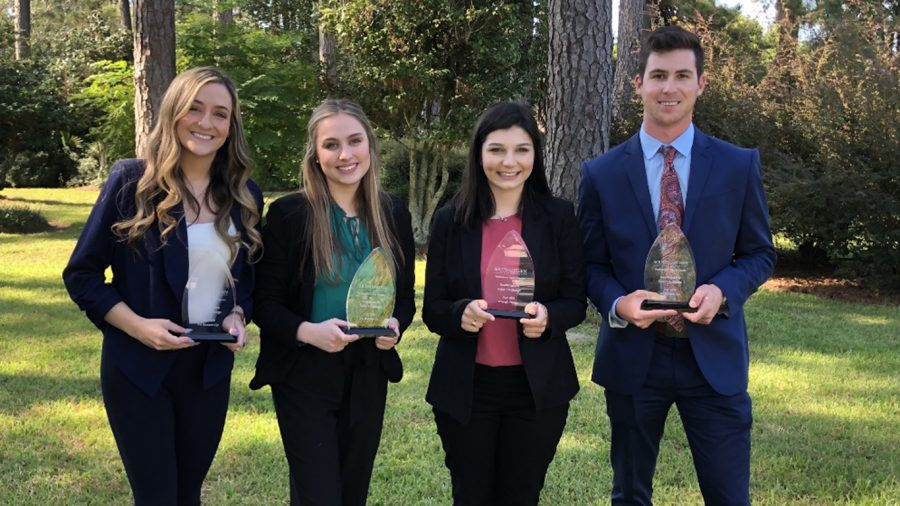 From left to right are the runners-up and winner of the university's Professional Sales Program's Fall 2020 internal sales competition: third runner-up Jenna Pecot, second runner-up Brielle Ricca, winner Emily Browning and first runner-up Paxton Page.