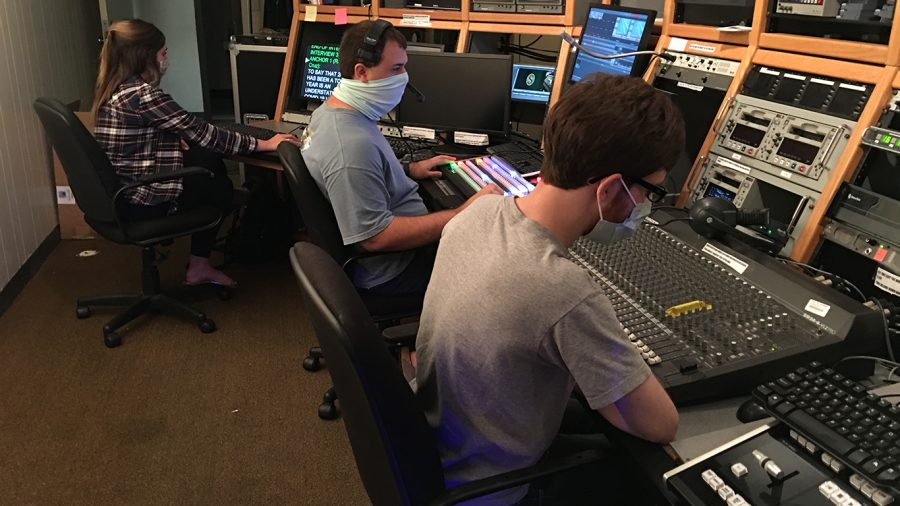 Student workers sit socially distanced in The Southeastern Channel studio. The channel's students, faculty and staff have followed the university's health and safety guidelines throughout the semester, including wearing masks and maintaining space between individuals.