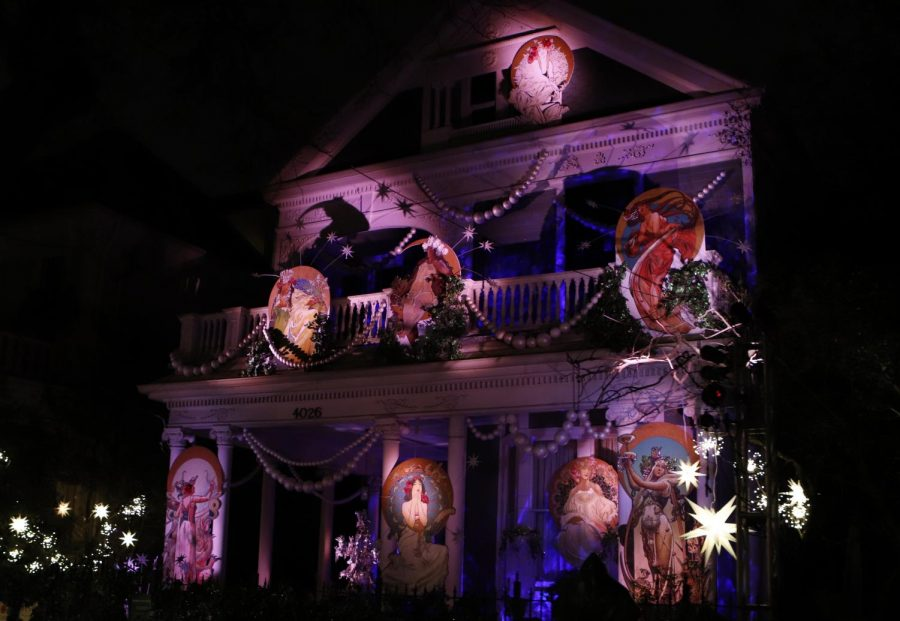 A house at 4026 St. Charles Ave. is decorated by the Krewe of Muses to display the nine Muses of Greek Mythology.