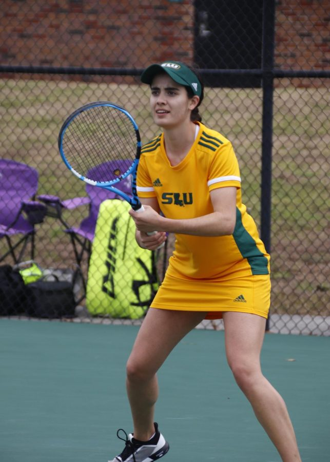 Ximena Yanez, above, claimed a doubles victory with Putri Insani against LSU Alexandria on Feb. 21 at Southeasterns tennis complex. The team broke a three-game losing streak, securing a 6-1 victory.