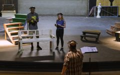 Actors DeJuan James and Leigh Moore have a socially-distanced rehearsal to prepare for the theatre department's upcoming production of Dr. Jekyll and Mr. Hyde on March 2-5.