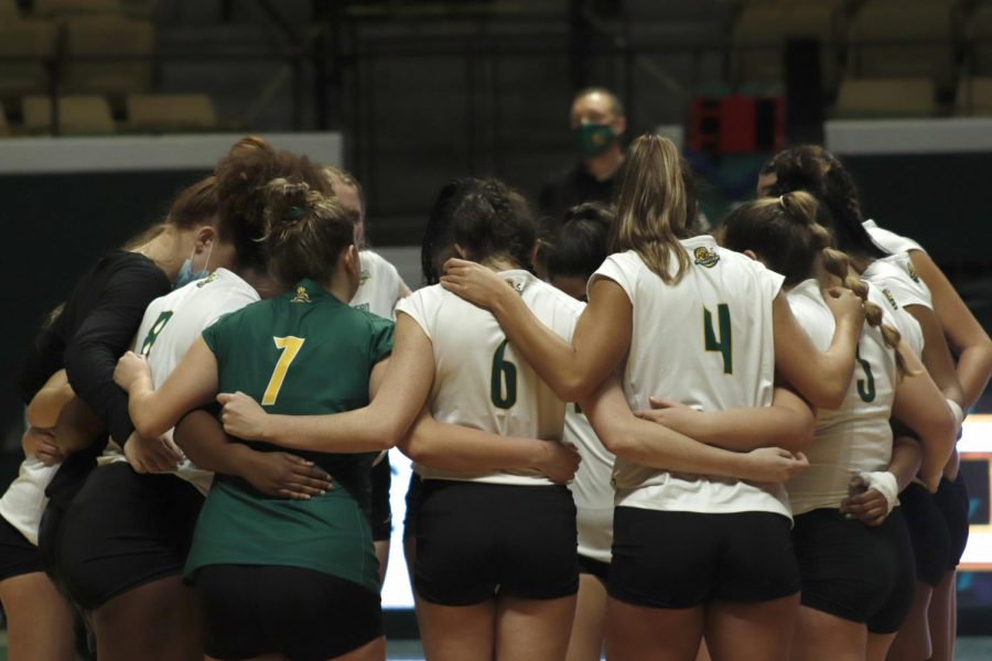 The Lady Lions volleyball team huddles up before their game against Sam Houston State University. On April 1 Southeastern will be back in action in the Southland Conference Tournament.