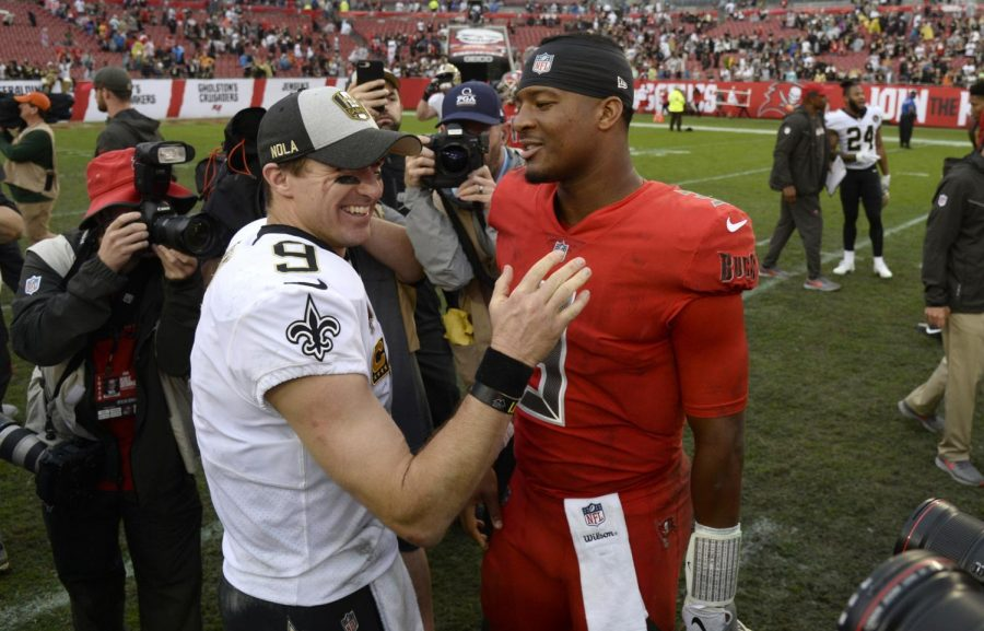 In+this+Dec.+9%2C+2018%2C+file+photo%2C+New+Orleans+Saints+quarterback+Drew+Brees+%289%29+shakes+hands+with+Tampa+Bay+Buccaneers+quarterback+Jameis+Winston+%283%29+after+an+NFL+football+game+in+Tampa%2C+Fla.+Winston+signed+a+one-year+contract+with+the+Saints+in+2021.+