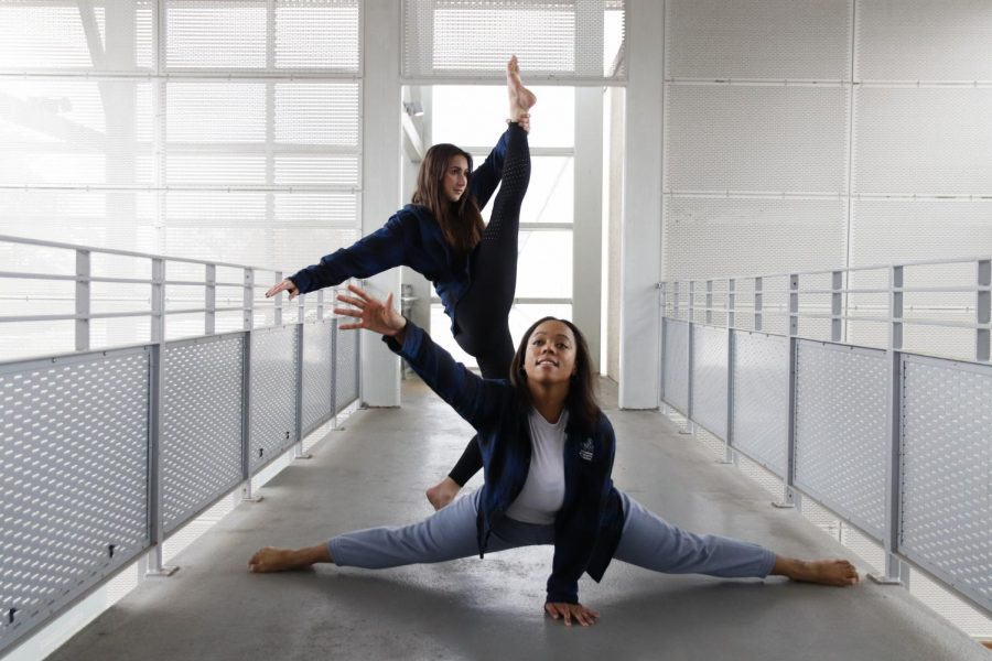 Student choreographers Emma Pinion and Stephanie Harris show off their abilities before their senior dance concerts. The artistic directors have been preparing for their senior thesis performances on March 14 and 15.