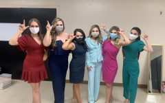 Southeastern students Hannah Tribou, Kimberly McClendon, Alyssa Larose, Megan Magri, Catherin Wooton and Gillian Hebert Lion Up before competing in the Miss Louisiana sweeper pageant.