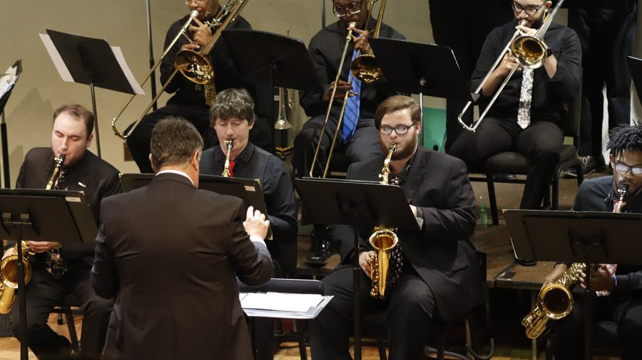 Michael Brothers instructs the University Jazz Ensemble and Jazz Lab Band at one of their last in-person performances on Nov. 20, 2019.  The Jazz Ensemble is live-streaming their first concert of the Spring 2021 semester on Tuesday, March 9 at 7:30 p.m.