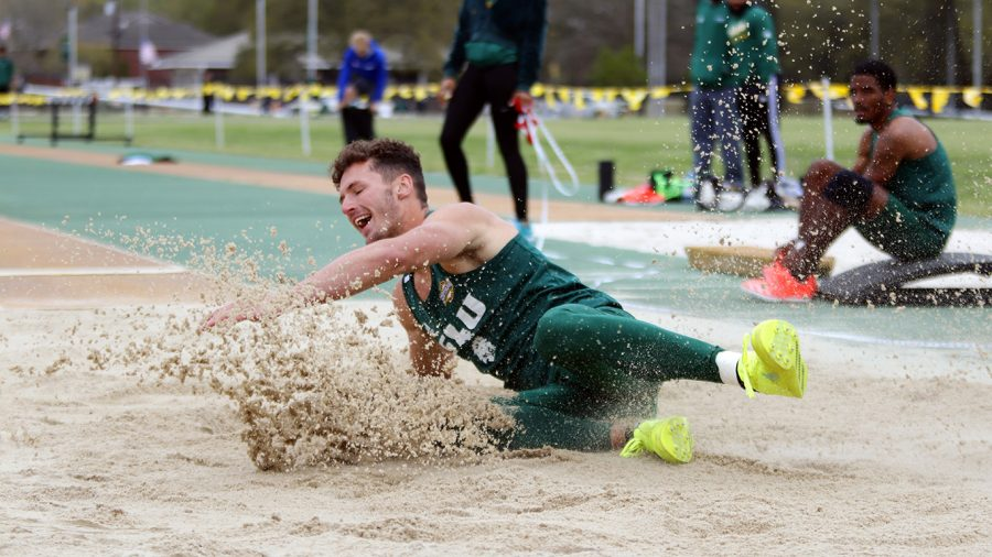 Junior Damon Herod competes in the long jump event at Friday's Southeastern Triangular against Southern and Alcorn State.