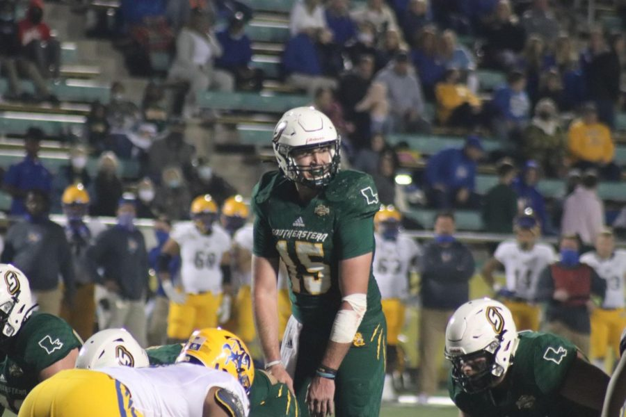 Senior quarterback Cole Kelley threw for 301 total yards in Saturday's 25-20 victory over McNeese State University. Kelley is a native of Lafayette and a transfer from the University of Arkansas. The Lions will face Northwestern State University at home on March 13 at 6 pm.