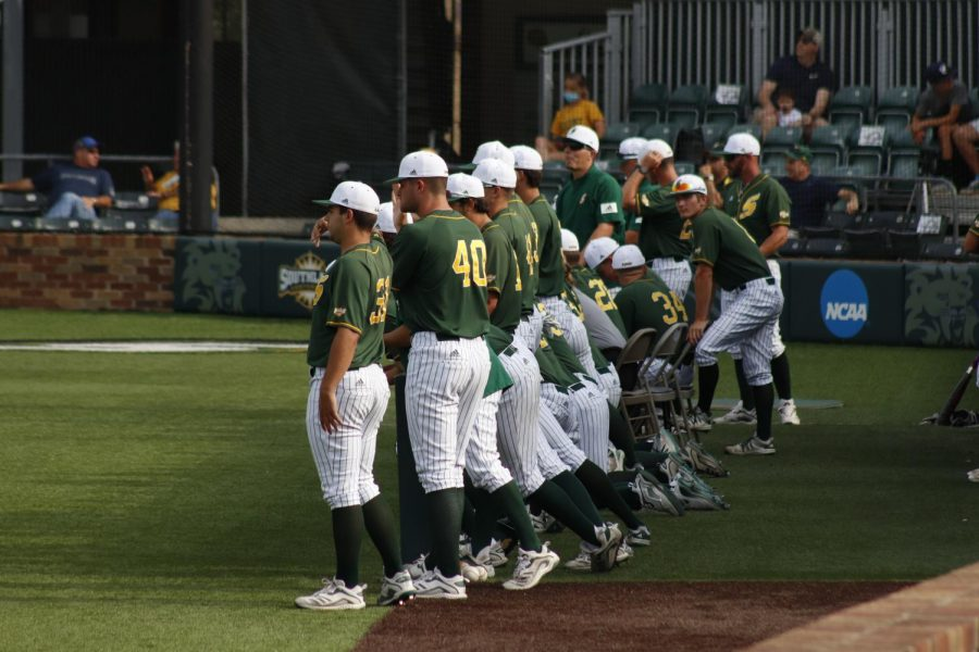 The+Lions+baseball+team+is+standing+in+the+dugout+as+they+take+on+Southland+Conference+opponent+Abilene+Christian+University.+
