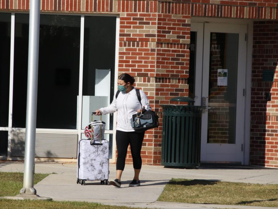 A student prepares to leave campus at the conclusion of the Fall 2020 semester. Southeastern students need to check in and out with resident assistants before they are officially ready to end the semester.