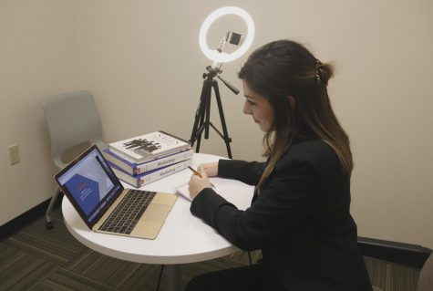 Junior marketing major Emily Browning prepares for the university's Professional Sales Competition on Feb. 12, 2021. Senior Jenna Pecot won first place, and Browning received first runner-up. The university's marketing program was recently ranked second in the state.