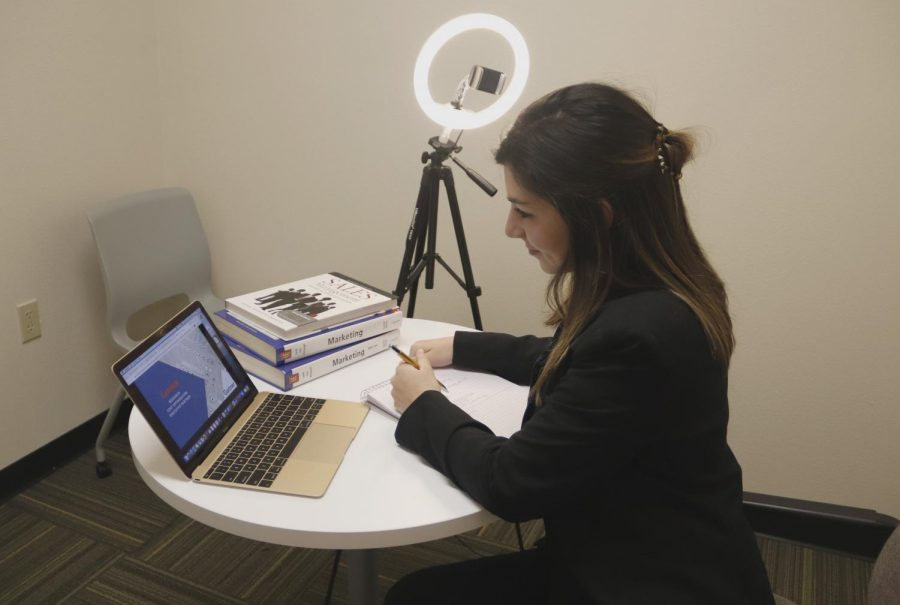 Junior marketing major Emily Browning prepares for the universitys Professional Sales Competition on Feb. 12, 2021. Senior Jenna Pecot won first place, and Browning received first runner-up. The universitys marketing program was recently ranked second in the state.