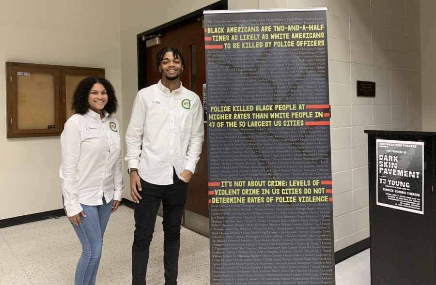 """Lonae Bowers and Brent Webb stand outside the Vonnie Borden Theatre after the closing night of """"Dark Skinned Pavement."""" Bowers and Webb are members of the BSU who took time to see the play and stay afterwards for the panel to share their thoughts."""
