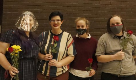 The cast from senior biology major and theater minor Carla Cortina's scene, 'The Children's Hour' hold their flowers with satisfaction. Southeastern students in Chad Winters' directing class each directed their own scenes and hosted a showcase together.