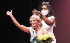 Miss Southeastern 2020 Janine Hatcher crowns Lily Gayle, a senior communication major, at the Miss Southeastern Louisiana University scholarship competition on Jan. 22 at the Columbia Theatre for the Performing Arts.