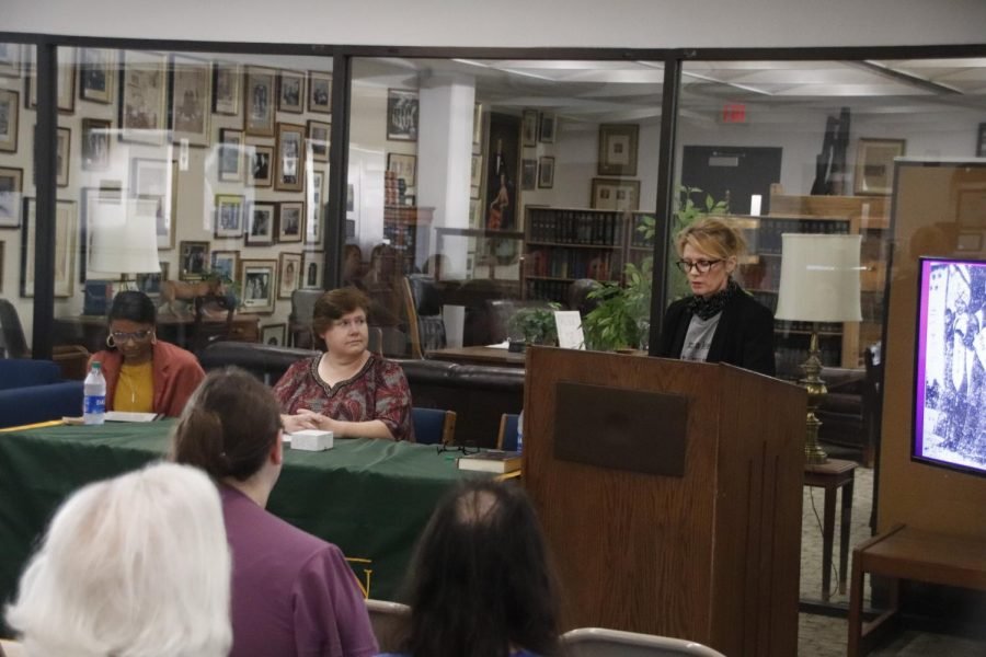 Dr. Elizabeth Hornsby, Dr. Carol Madere and Dr. Sam Cavell participate in a panel hosted by the Sims Memorial Library marking the opening of the Determined to Rise: The Womens Suffrage Movement in Louisiana exhibit.