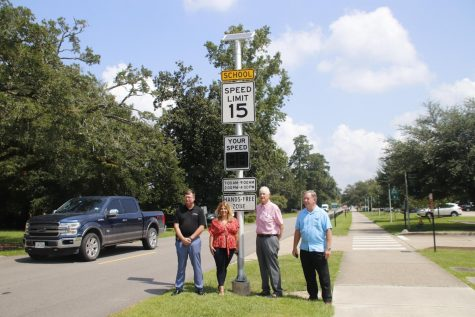 University Police Chief Michael Beckner is pictured with State Farm local agents Alexis Ducorbier, Stan Johnson, and Doug Johnson who awarded Southeastern Louisiana University Police Department a $6,000 grant to purchase three radar speed signs. These radar speed signs have been installed on campus on North General Pershing St. in front of the Southeastern Lab School, on Ned McGehee Dr., and on N. General Pershing Street Ext. This equipment will be used to increase safety on campus and slow down speeders.