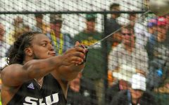 Alex Young winds-up to throw in 2016 Track and Field meet during his time at Southeastern. In August, Young will set his sights on the gold medal after just missing the games in 2016.