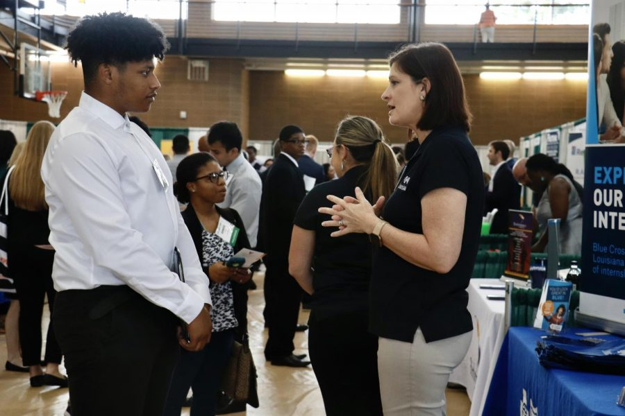 Students at the Fall 2019 Career Fair network with potential employers in the Pennington Student Activity Center. At this event, students can wear business attire and prepare their resumes to connect with representatives from various businesses. The Fall 2021 Career Fair is scheduled for Sept. 30.