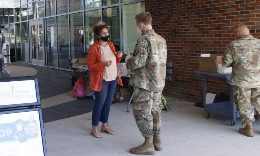 The+National+Guard+holds+a+COVID-19+testing+event+on+campus+in+November+2020.+COVID+testing+as+well+as+COVID+vaccine+distribution+are+available+and+free+on+campus.+