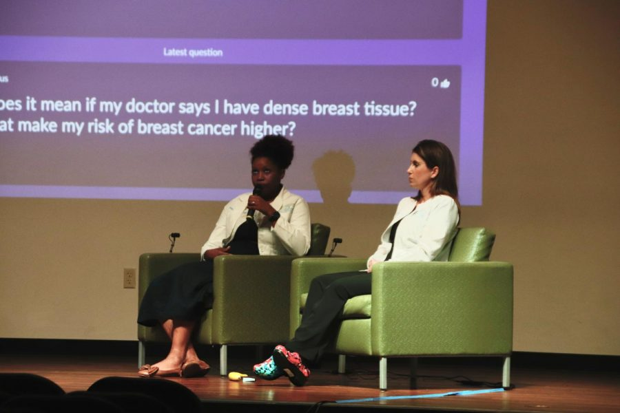 Dr. Kimberly Hodge, OBGYN, (left) and Keri Girard, womens health nurse practitioner, are part of the North Oaks Obstetrics & Gynecology group. They joined two OBGYN specialists from Magnolia Obstetrics & Gynecology in the Student Union Theatre on Sept. 28 for a panel discussion. The University Health Center organized the panel event.