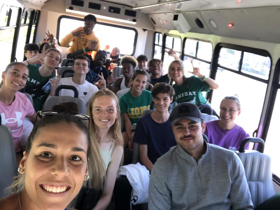 Southeastern students take a selfie on the way to the University of Louisiana at Monroe. Following Hurricane Ida, several residential students who remained on campus were relocated to ULM for shelter.