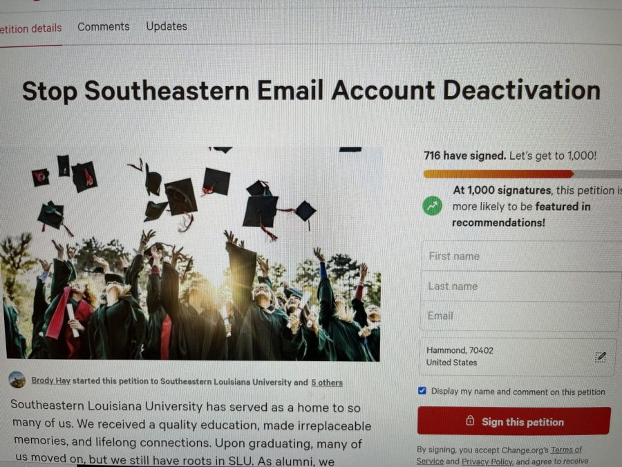 The change.org petition Stop Southeastern Email Account Deactivation, encourages current and former students and employees of the university to sign. As of Oct. 18, the petition has 716 signatures. The university has set the final account deactivation date as Friday, Oct. 22.