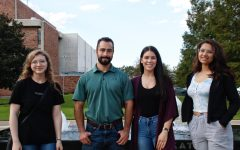 Members of the Southeastern Vegan Club stand in front of the Katrina Memorial Fountain during their first in-person meeting since Hurricane Ida. From left to right: treasurer Hannah Heinz, president Tyler Daspit, vice president Katie OPry, member Sandipa Pandey.